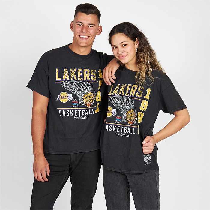 Los Angeles Lakers Vintage Basket Logo Tee Unisex