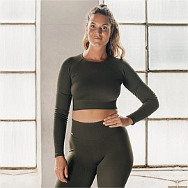 Ribbed Seamless Crop Long Sleeve
