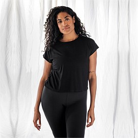 Black Rib Flow Top