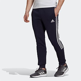 Essentials Fleece Tapered Cuff 3-Stripes Pants Mens